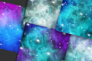 Print on Demand: Blue Galaxy Space Digital Papers Graphic Backgrounds By PinkPearly 4
