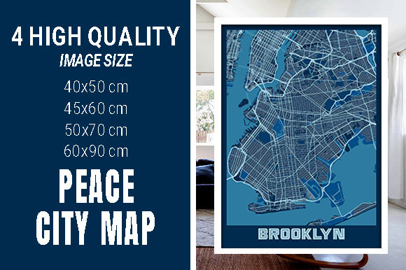 Brooklyn - United States Peace City Map Graphic Photos By pacitymap