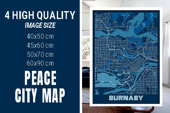 Burnaby - Canada Peace City Map Graphic Photos By pacitymap
