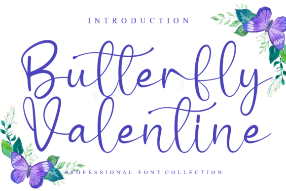 Print on Demand: Butterfly Valentine Script & Handwritten Font By Creativewhitee