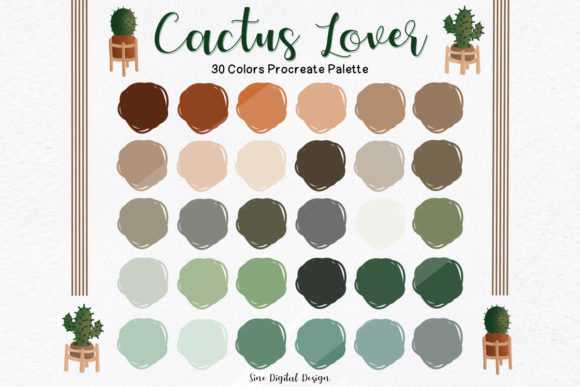 Print on Demand: Cactus Lover Color Palette for Procreate Graphic Add-ons By SineDigitalDesign