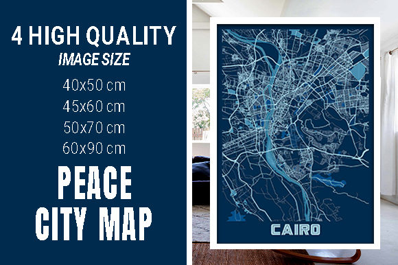Cairo - Egypt Peace City Map Graphic Photos By pacitymap