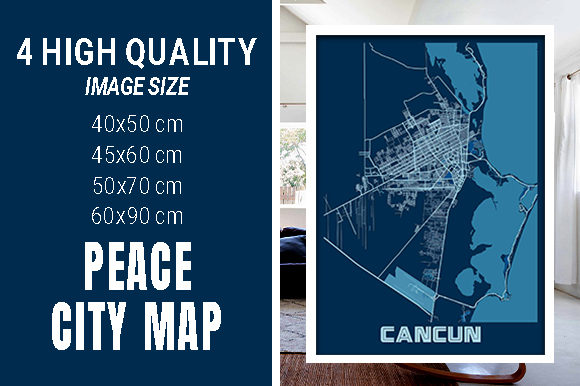 Cancun - Mexico Peace City Map Graphic Photos By pacitymap