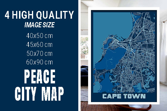 Cape Town - South Africa Peace City Map Graphic Photos By pacitymap