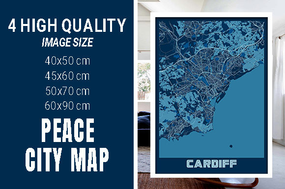 Cardiff - United Kingdom Peace City Map Graphic Photos By pacitymap