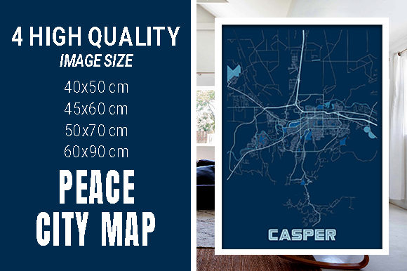 Casper - United States Peace City Map Graphic Photos By pacitymap