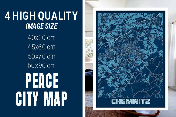 Chemnitz - Germany Peace City Map Graphic Photos By pacitymap