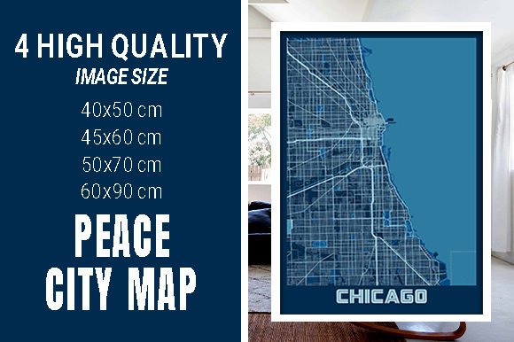 Chicago - Illinois Peace City Map Graphic Photos By pacitymap