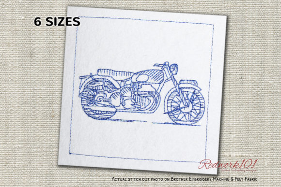 Classic British Motorcycle Redwork Transportation Embroidery Design By Redwork101