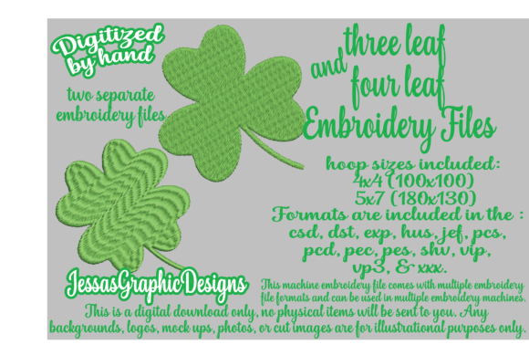 Print on Demand: Clovers Two Pack Intricate Cuts Embroidery Design By JessasGraphicDesgins