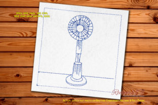 Cooling Fan Redwork Bedroom Embroidery Design By Redwork101