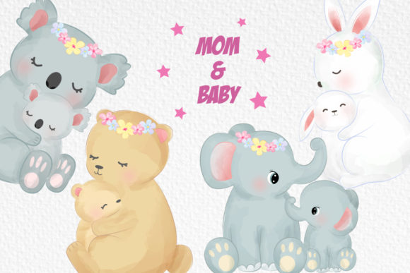 Cute Animals Motherhood Clipart Set Graphic Illustrations By DrawStudio1988