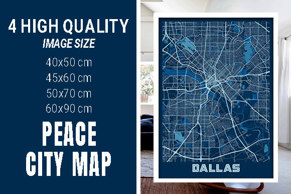 Dallas - United States Peace City Map Graphic Photos By pacitymap