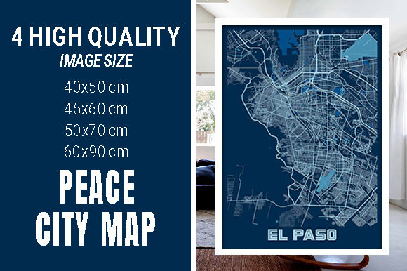 EL Paso - United States Peace City Map Graphic Photos By pacitymap