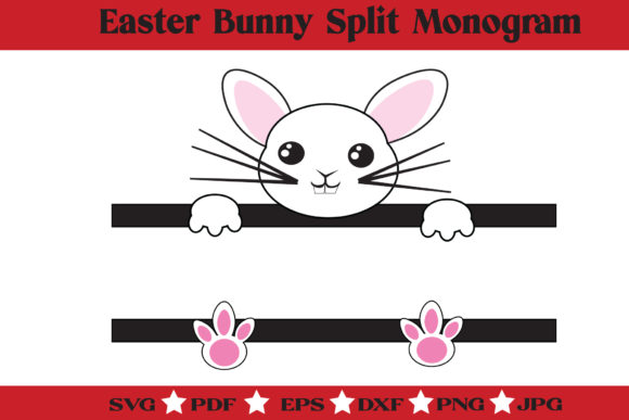 Print on Demand: Easter Bunny Split Monogram Graphic Illustrations By McLaughlin Mall
