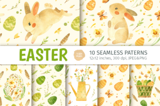 Print on Demand: Easter Bunny - Seamless Patterns Graphic Patterns By ValinMalin