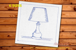 Electric Bedside Lamp Redwork Bedroom Embroidery Design By Redwork101