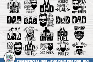 Print on Demand: Fathers Day Svg, Beard Svg, Dad Signs Graphic Crafts By nibaartstudio