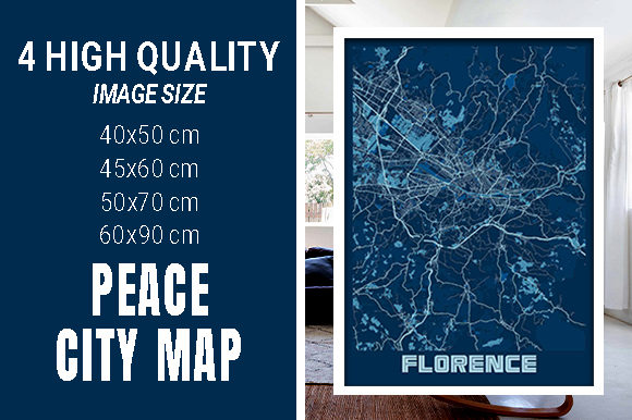 Florence - Italy Peace City Map Graphic Photos By pacitymap