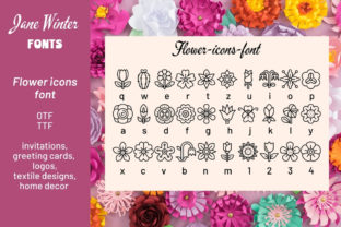 Print on Demand: Flower Icons Dingbats Font By Jane Winter