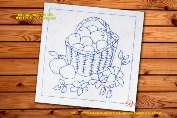 Fruits in Woven Basket Redwork Food & Dining Embroidery Design By Redwork101