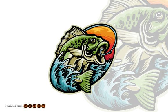 Print on Demand: Get Bass Fishing Mascot Summer Graphic Graphic Illustrations By artgrarisstudio