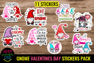 Gnome Valentines Day Stickers Pack Graphic Crafts By Happy Printables Club 1