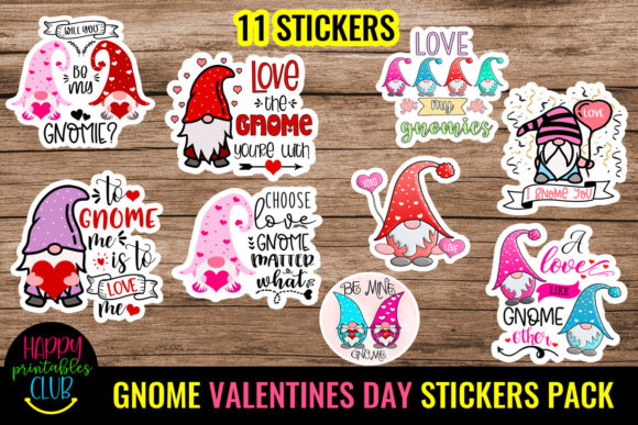 Gnome Valentines Day Stickers Pack Graphic Crafts By Happy Printables Club