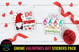 Gnome Valentines Day Stickers Pack Graphic Crafts By Happy Printables Club 3