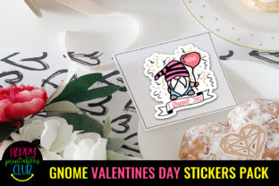 Gnome Valentines Day Stickers Pack Graphic Crafts By Happy Printables Club 4