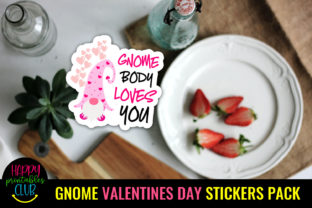 Gnome Valentines Day Stickers Pack Graphic Crafts By Happy Printables Club 5