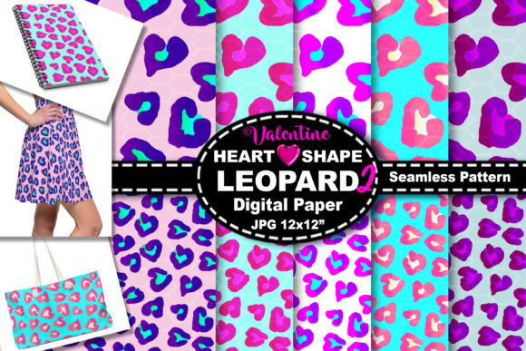 Print on Demand: Gradient Heart Leopard Seamless Pattern Graphic Backgrounds By V-Design Creator