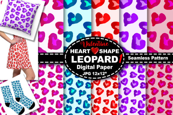 Print on Demand: Heart Leopard Seamless Digital Pattern Graphic Backgrounds By V-Design Creator