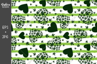 Heart with Marijuana Leaves Pattern Graphic Patterns By sashica designs