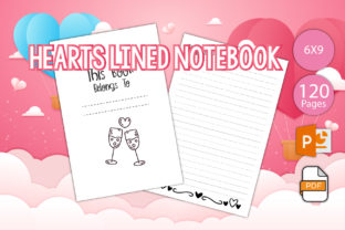 Print on Demand: Hearts Lined Notebook for KDP Graphic KDP Interiors By IsaraDesign