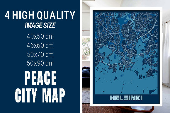 Helsinki - Finland Peace City Map Graphic Photos By pacitymap