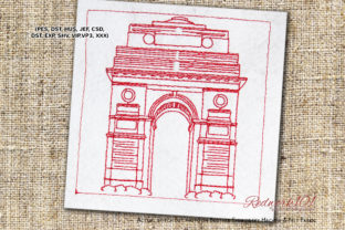 India Gate Lineart Cities & Villages Embroidery Design By Redwork101