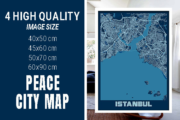 Istanbul - Turkey Peace City Map Graphic Photos By pacitymap