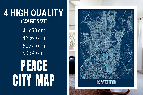 Kyoto - Japan Peace City Map Graphic Photos By pacitymap