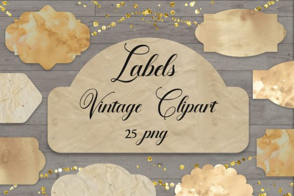 Labels Vintage Clipart PNG Graphic Backgrounds By PinkPearly