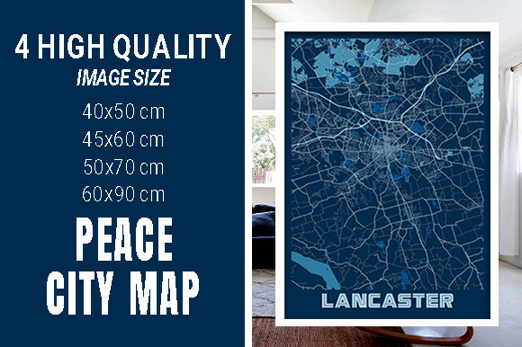 Lancaster - United States Peace City Map Graphic Photos By pacitymap