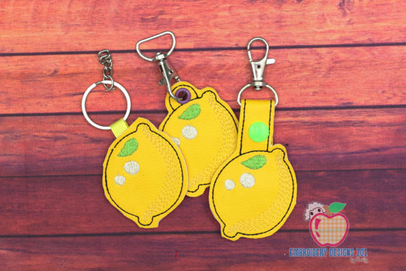 Lemon ITH KeyFob Snaptab Food & Dining Embroidery Design By embroiderydesigns101