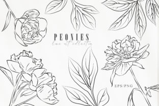 Print on Demand: Line Art Peony Clip Art. Botanical Set Graphic Illustrations By Tiana Geo