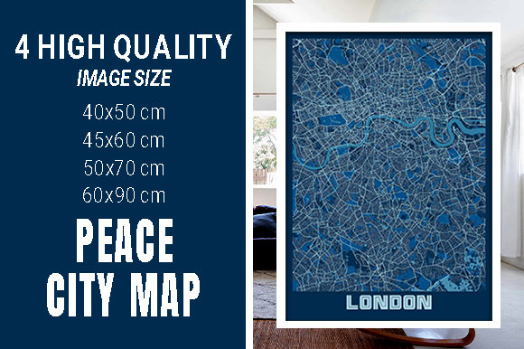 London - United Kingdom Peace City Map Graphic Photos By pacitymap