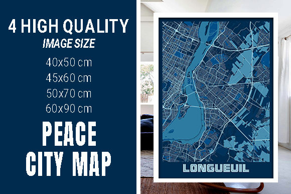 Longueuil - Canada Peace City Map Graphic Photos By pacitymap