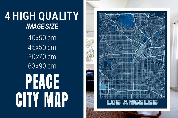 Los Angeles - Califonia Peace City Map Graphic Photos By pacitymap