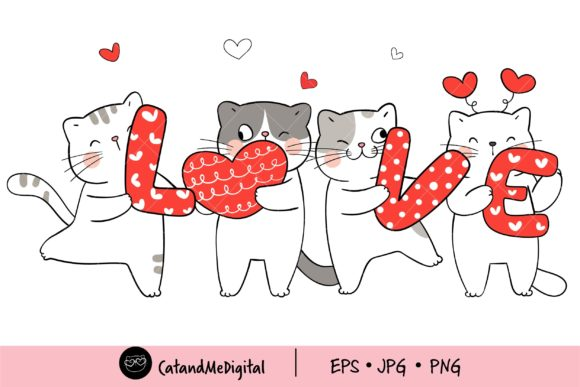 Love Cat Valentine Clipart. Graphic Illustrations By CatAndMe