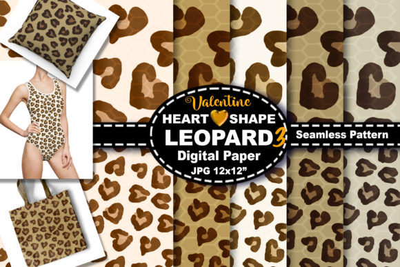 Print on Demand: Love Heart Leopard Seamless Pattern Graphic Backgrounds By V-Design Creator