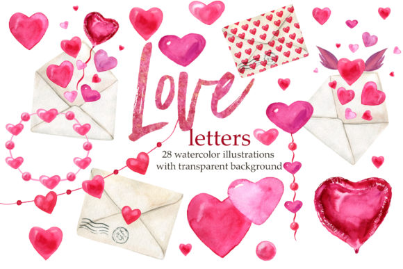 Love Letters, Valentine's Day Clipart Graphic Illustrations By lena-dorosh
