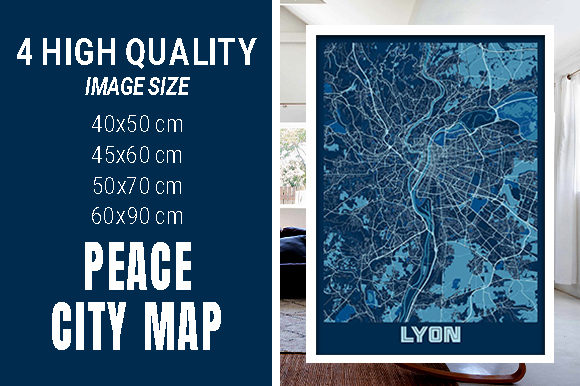 Lyon - France Peace City Map Graphic Photos By pacitymap